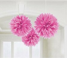 PARTY DISCOUNT Deko-Ball flauschig, pink, 40 cm, 3