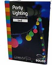 Party Lichterkette 80 LED bunt - Batterie / 16m -