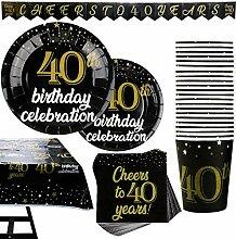 Party-Set zum 40. Geburtstag, Banner, Teller,