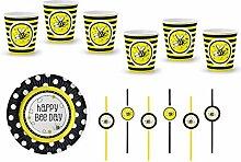Party Teller + Becher Set; 18 Teile Ergänzung Kindergeburtstag schwarz gelb bunt Mädchen Maya Dekoration Happy Birthday Bienchen. (5. Essen&Trinken)