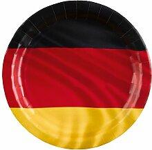 Party-Teller schwarz rot gold / Papp-Teller