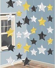 Partydekoration, Hängeschnüre mit goldenen, silbernen und schwarzen Sternen, 6 Stück