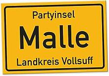 Partyinsel Malle - Schild (30 x 20 cm), Lustige Geschenkidee Geburtstagsgeschenk für den besten Freund oder Sauf-Kumpel, Kleines Geschenk für Männer, Mallorca-Party Zubehör, Deko für Trinkspiele