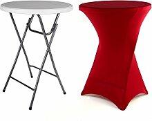 Partytisch Stehtisch 100 cm klappbar mit Husse rot Stretch waschbar Bistrotisch Bartisch 80x80 cm rund Klapptisch Stoffbezug