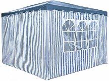 Partyzelt 3 x 3 m Festzelt Gartenzelt Bierzelt Pavillon Gartenpavillon mit 4 Seitenwänden Blau gestreif