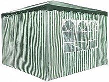 Partyzelt 3 x 3 m Festzelt Gartenzelt Bierzelt Pavillon Gartenpavillon mit 4 Seitenwänden Grün gestreif