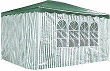 Partyzelt 3 x 4 m Festzelt Gartenzelt Bierzelt Pavillon Gartenpavillon mit 4 Seitenwänden Grün gestreif