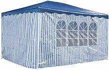 Partyzelt 3 x 4 m Festzelt Gartenzelt Bierzelt Pavillon Gartenpavillon mit 4 Seitenwänden Blau gestreif