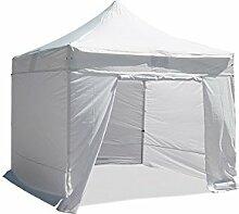 Partyzelt, Pavillon, 2 x 2 m, PVC beschichtetes Polyestergewebe 300 g/m ², Weiß, mit Tragetasche, mit 4 Seitenwänden, inkl. ein Eingang mit Reißverschluss)
