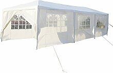 Partyzelt Pavillon 3 x 9m Gartenzelt Hochzeit Festzelt Zelt Gartenpavillon mit Fenster XXXL (Weiß)