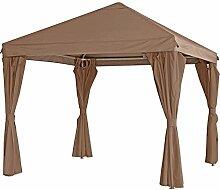 Partyzelt Pavillon Gestell inkl. Dach und Seitenteile Metall taupe 3x3 Meter
