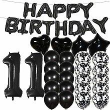 Partyzubehör zum 11. Geburtstag, schwarze Zahl