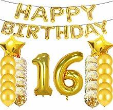Partyzubehör zum 16. Geburtstag, goldfarbene Zahl