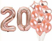 Partyzubehör zum 20. Geburtstag, Roségold, Zahl
