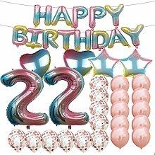 Partyzubehör zum 22. Geburtstag, Regenbogen-Zahl,