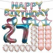 Partyzubehör zum 27. Geburtstag, Regenbogen-Zahl,