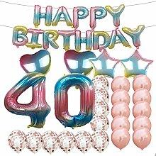 Partyzubehör zum 40. Geburtstag, Regenbogen-Zahl