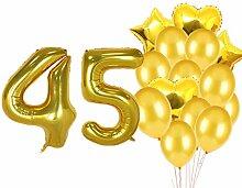 Partyzubehör zum 45. Geburtstag, goldfarbene Zahl