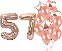 Partyzubehör zum 57. Geburtstag, Roségold, Zahl