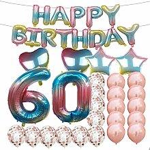 Partyzubehör zum 60. Geburtstag, Regenbogen-Zahl