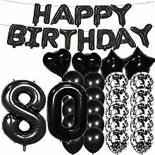 Partyzubehör zum 80. Geburtstag, schwarze Zahl