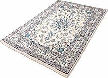 Parwis Orientteppich für Wohnzimmer, Schlafzimmer, Küche, Flur, handgeknüpft,, Nain Khorasan, reine Schurwolle, 200 x 300 cm, creme