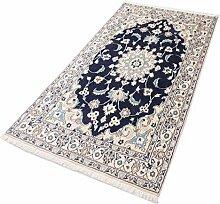 Parwis Orientteppich für Wohnzimmer, Schlafzimmer, Küche, Flur, handgeknüpft,, Nain Khorasan, reine Schurwolle, 200 x 300 cm, dunkelblau