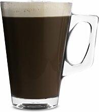 Pasabahce 55201 Vela Kaffeeglas mit Henkel, 260