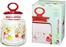 Pasabahce 98671Kitchen Cherie Vorratsdose aus Glas, 1l, transparent/mehrfarbig