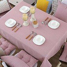 PASAJ Baumwolle Leinen Gestreifte Teetisch Rechteckige Tischdecke Rosa Tischtuch Kaffee Tischdecke,Pink-110*170cm(43.3*66.9Inch)