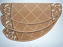 Passende Stufenmatten zum Läufer 15 er Set halbrunde Form - Treppenmatte Beige 1444