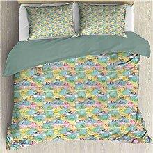 Pastell 3-teiliges fein bedrucktes Bettbezug-Set