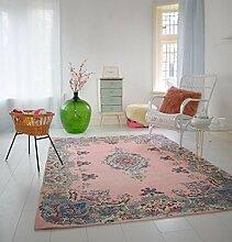 Pastell Vintage Teppich | im angesagten Shabby Chic Look | für Wohnzimmer, Schlafzimmer, Flur etc. | Pastell (275 x185 cm)