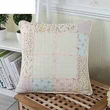 Pastoral Floral Embroidery Fabric Pillowcase,Girls Pillow Sofa Office Nap Pillow-B 45x45cm(18x18inch)VersionA