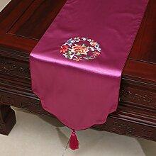 Pastoral Stickerei-Tisch Flag Tischdecke Kaffeetischdecke Bett Flagge Tischset Tischdecken Tuch Tischfahne ( farbe : # 14 , größe : 33*200cm )