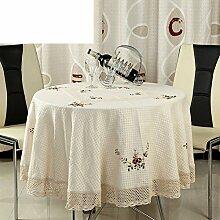 Pastorale Bestickt Tuch,Tischdecke Baumwoll Leinengeschirr,Mode Tischdecke Couchtisch Tischdecke,Runde Tischdecke-A 45x45cm(18x18inch)