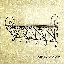 Pastorale Eisen-Wandregale, Bad-Racks, Küchenregale, Regale, Kleiderständer, Wand Bücherregale, Blumenregale ( Farbe : Bronze , größe : 50*12.5*26cm )
