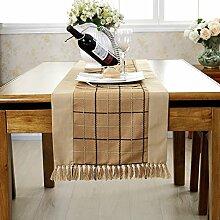 Pastorale Quaste Tischl?ufer/College-Stil-Tischdecken/Tetabellentuch/Polsterbett/TV-Schrank drapieren-C 38x150cm(15x59inch)
