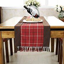 Pastorale Quaste Tischl?ufer/College-Stil-Tischdecken/Tetabellentuch/Polsterbett/TV-Schrank drapieren-D 38x220cm(15x87inch)