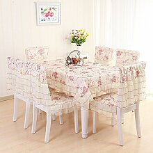 Pastorale Spitze Tischdecke,Tischdecke Rote Blumen Tischdecke,Kissen Und Bezüge Für Die Stühle-A 90x90cm(35x35inch)