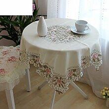 Pastorale Tuch Tischdecken,Tisch Gedeckt Mit Handtuch Tee Tuch,Durchbrochene Stickerei Tischdecke-A 125x175cm(49x69inch)
