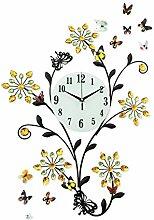 Pastoralen Stil Wanduhren moderne Zimmer Uhren High Definition Glass Spiegel Silent Mono Phantasie hängenden Tisch Schlafzimmer Stille Uhr Quarzuhr Art Clock -Wall clock
