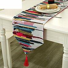 Pastoralstil tischläufer Slip tischläufer Amerikanische gewebe-tischtuch Multifunktionale tischfahne Tischtuch-A 30x200cm(12x79inch)