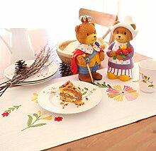 Pastoralstil Tischläufer,Xiang Taro Tal Tuch Bestickt Tuch Kaffee Tuch,Tv-schrank Abdeckung Tuch Schlafzimmer Mode Bett Flagge Tisch Tuch-A 40x220cm(16x87inch)