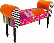 Patchwork Design Bank GYPSY mehrfarbig Sitzbank Stoff Textil Polsterbank bunt Flur hohe Armlehnen