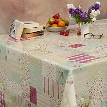 Patchwork Pink - PVC Abwischen sauber Tischdecke - 130cm breite - Preis pro halben Meter