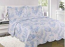 Patchwork Tagesdecke Blau Bettüberwurf Überwurf