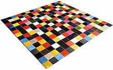 Patchwork Teppich aus buntem Kuhfell, Rinderfell,
