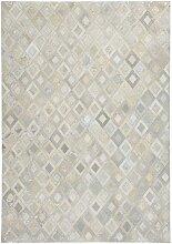 Patchwork Teppich aus Echtfell Creme Weiß und