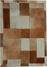 Patchwork Teppich in Braun und Creme Weiß Echtfell